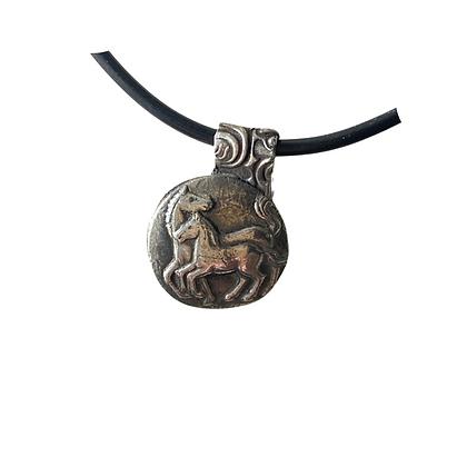 Fine Silver Mare and Foal Pendant