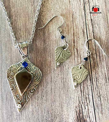 Sterling Silver Arabesque Blue Sapphire Pendant and Earrings
