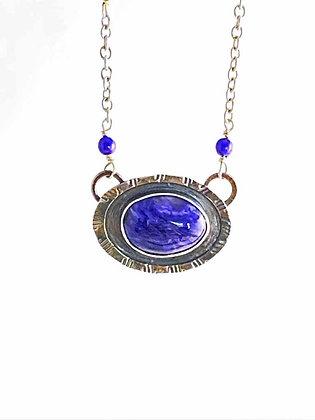 Purple Charoite Sterling Silver Pendant White Background