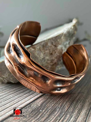 Hammer Chased Copper Cuff
