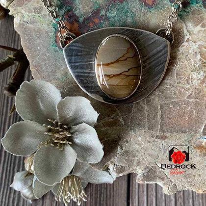 Picturesque Owyhee Jasper Fine Silver Pendant