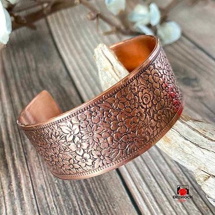Floral Texture Copper Cuff Cranston Wire Factory