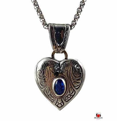 Sterling Silver Heart Pendant Blue Spinel Gemstone