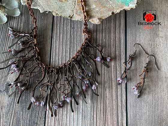 Twigs and Tendril Purple Flower Necklace and Matching Earrings