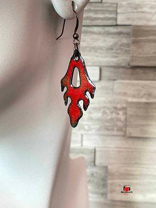 Red Flame Enameled Dangling Earrings