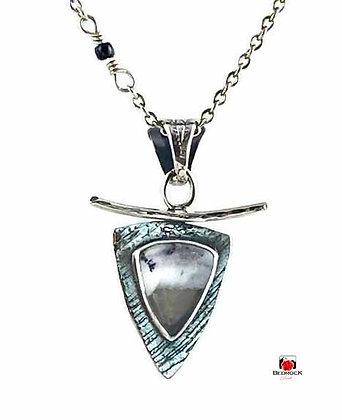 Dainty Merlinite Trillion Sterling Silver Pendant