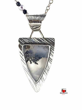 Merlinite Gemstone Sterling Silver Shield Pendant