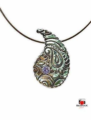 Silver Paisley Pendant with Lavender Gemstone