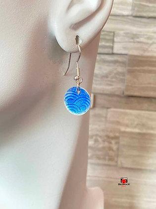 Translucent Blue Circular Disc Enamel Dangling Earrings