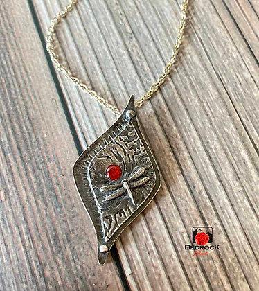 Elegant Silver Arabesque Dragonfly Pendant Flatlay