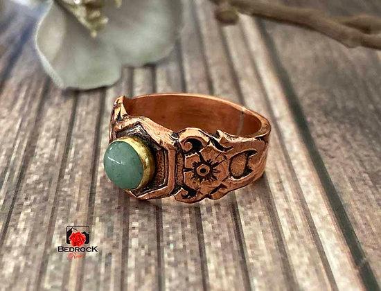 Copper Art Nouveau Aventurine Ring