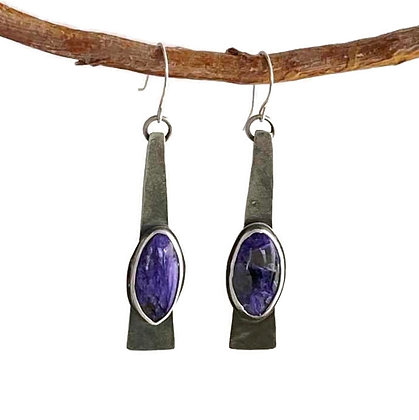 Modern Purple Charoite Dangling Earrings