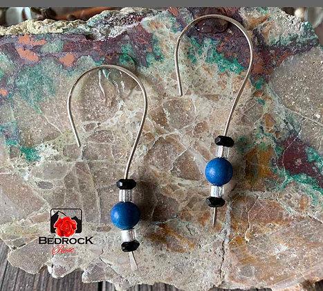 Blue Silver Hook Earrings