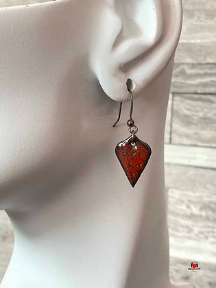 Crackle Red Enamel Arabesque Dangling Earrings