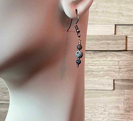 Blue Fire Agate Cracked Earrings