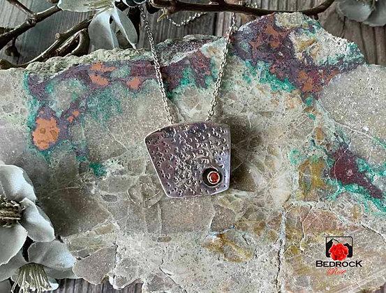 Textured Geometric Silver Pendant
