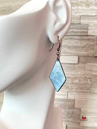 Baby Blue Speckled Diamond Enamel Dangling Earrings
