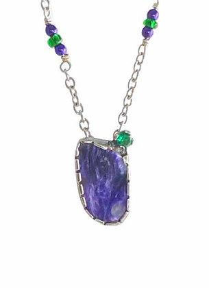 Stunning Purple Charoite and Emerald Green Pendant