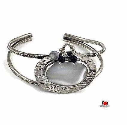 Merlinite Gemstone Sterling Silver Cuff