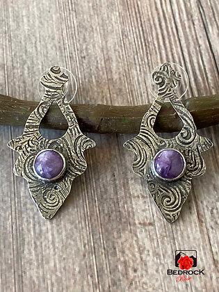 Sterling Silver Arabesque Charoite Post Earrings