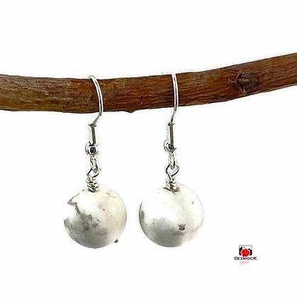 White Howlite Dangling Earrings