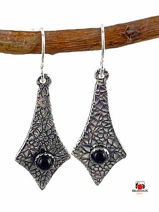 Floral Sterling Silver Onyx Dangling Earrings