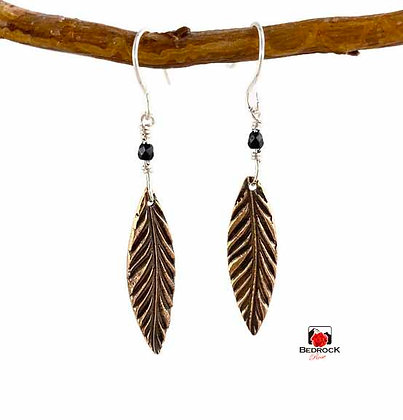 Striking Rose Bronze Feather Dangling Earrings