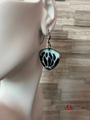 Black and White Floral Enamel Trillion Dangling Earrings