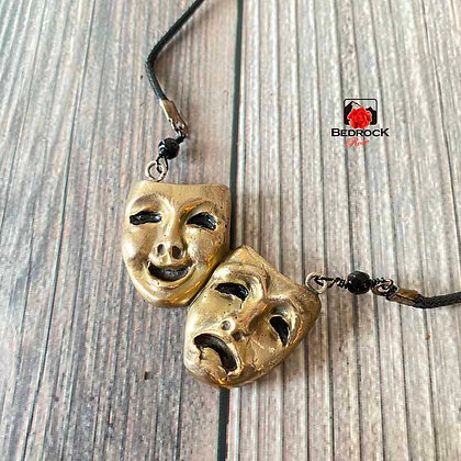 Bronze Tragedy and Comedy Masks Pendant