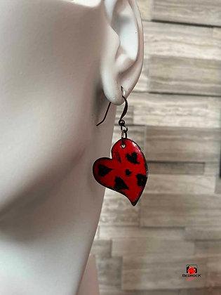 Red and Black Heart Enamel Dangling Earrings