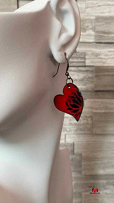 Red Heart Floral Pattern Enameled Dangling Earrings