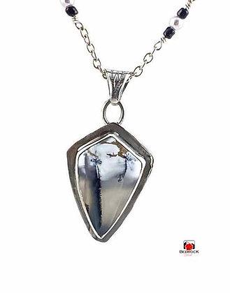 Striking Merlinite Shield Sterling Silver Pendant