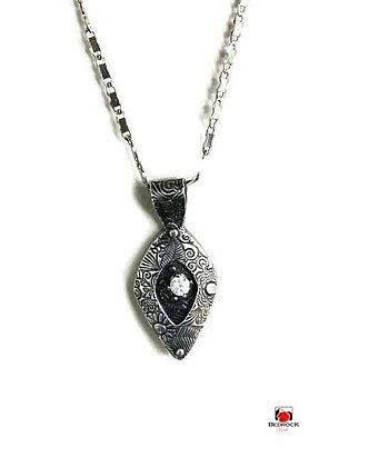 Elegant Silver Necklace with Diamond CZ Inset Gemstone