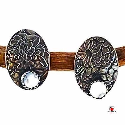 Dendritic Agate Floral Post Earrings