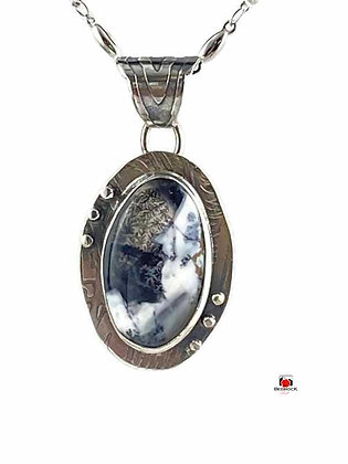 Yin and Yang Merlinite Gemstone Sterling Silver Pendant