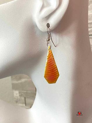 Orange Raspberry Sherbet Enameled Dangling Earrings