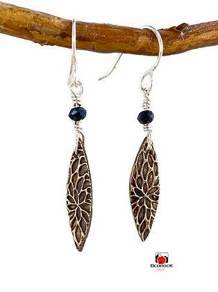 Dainty Rose Bronze Petal Texture Oval Dangling Earrings