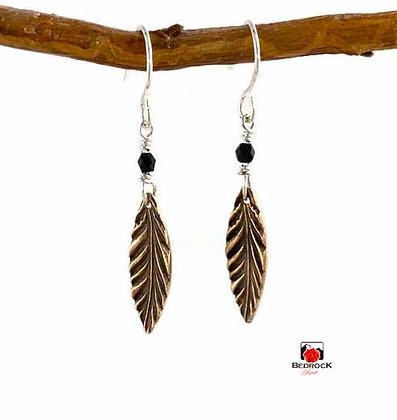 Dainty Rose Bronze Feather Dangling Earrings