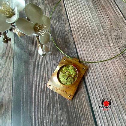 Rustic Green Copper Weave Pendant Flatlay