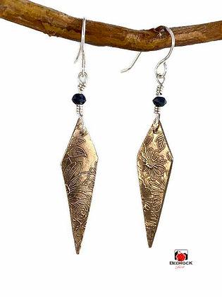 Spectacular Rose Bronze Diamond Drop Dangling Earrings