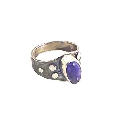 Distinctive Purple Charoite Ring Size 7.5