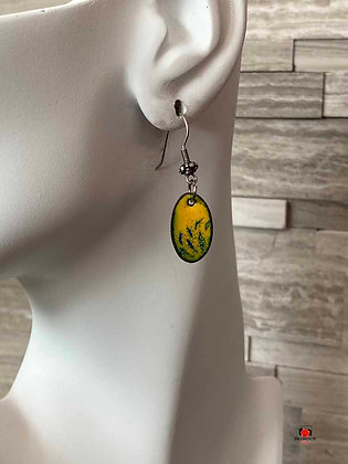 Yellow Blue Oval Enameled Dangling Earrings