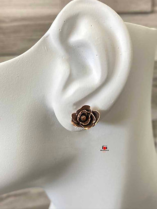 Hand sculpted Rose Bronze Stud Earrings