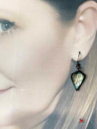 Arabesque Translucent Copper Enameled Dangling Earrings