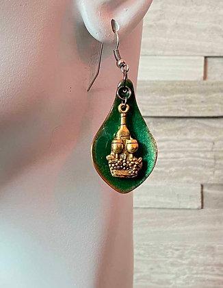 Charming Green Enameled Wine Earrings