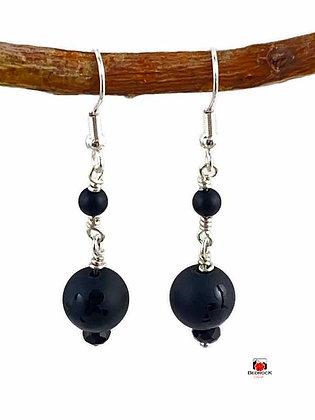 Matte Black Agate Anchor Dangling Earrings