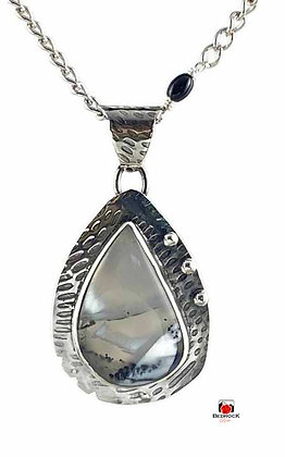 Merlinite Gemstone Teardrop Sterling Silver Pendant