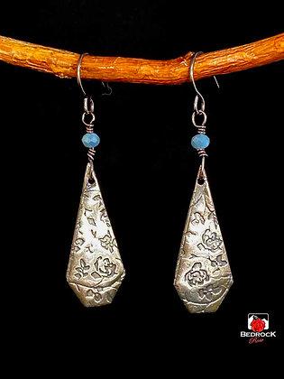 Sterling Silver Rose Dangling Earrings