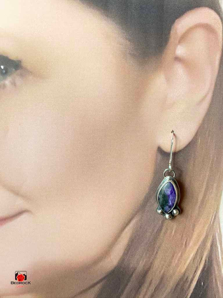 Purple Oval Dangling Earrings with Silver Balls