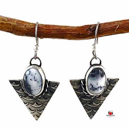 Merlinite Gemstone Sterling Silver Earrings